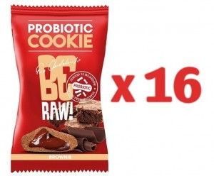 Zestaw 16szt x BeRaw Probiotic cookie BROWNIE 20g Purella Superfoods